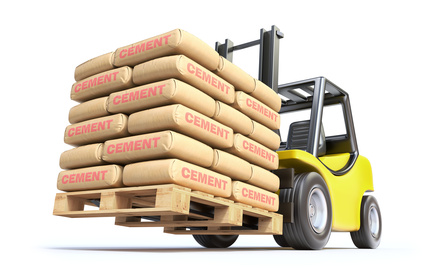 Forklift with cement sacks